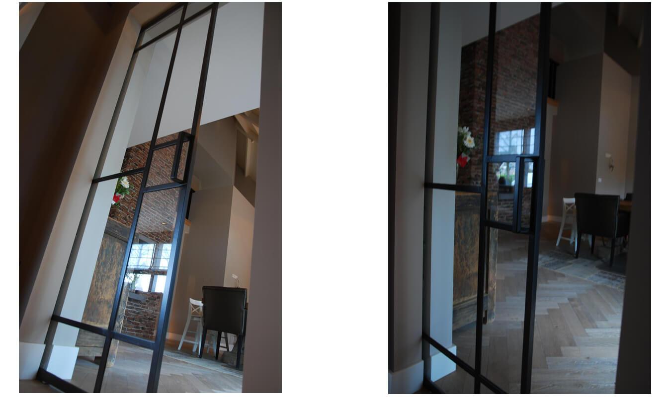 Stalen schuifdeur in Helmond in een levendig interieur. Realisatie StalenDeurenHuys