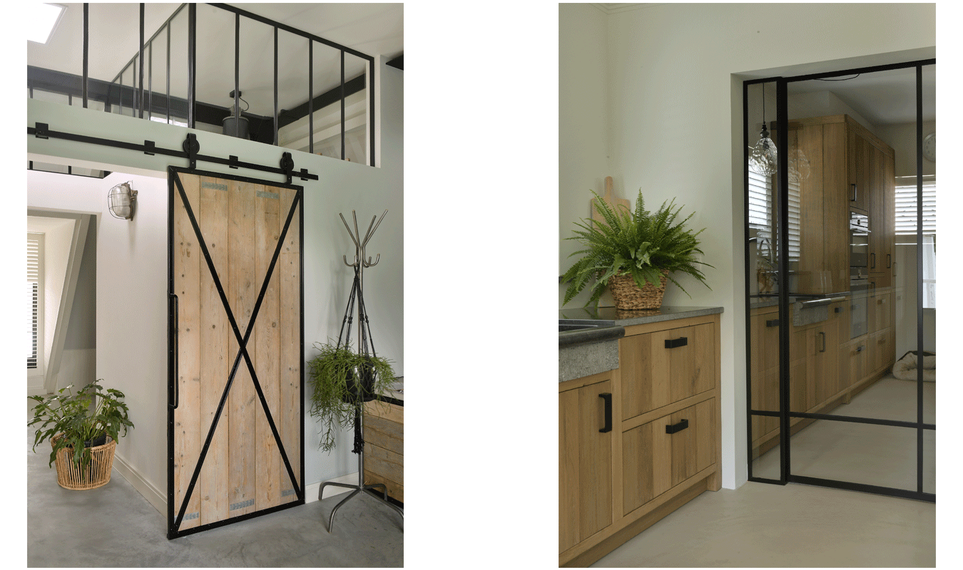 Stalen deuren zijn verkrijgbaar in verschillende stijlen en maten.