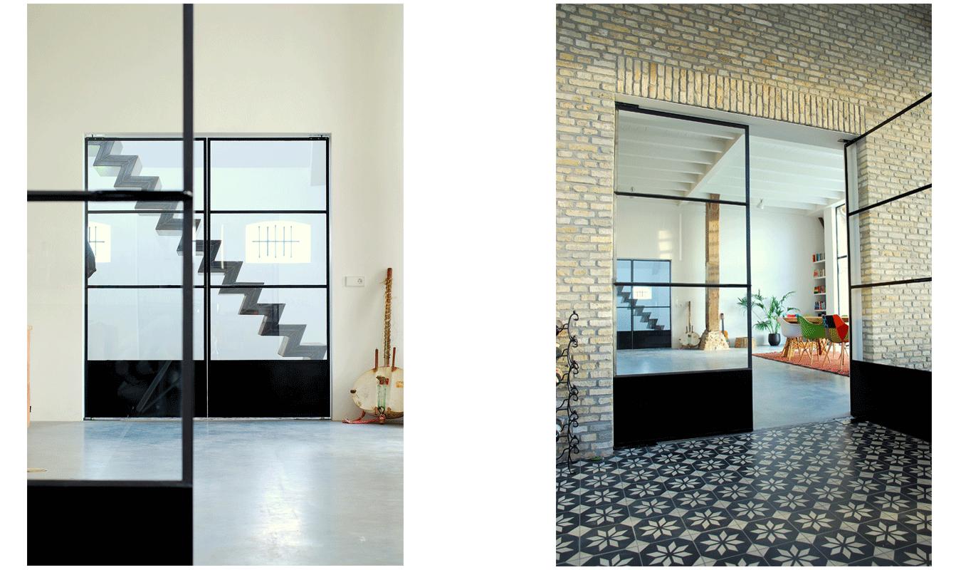 Stalen taatsdeuren, Moderne deur, binnendeuren, stalen deuren, taatsdeuren, roomdivider