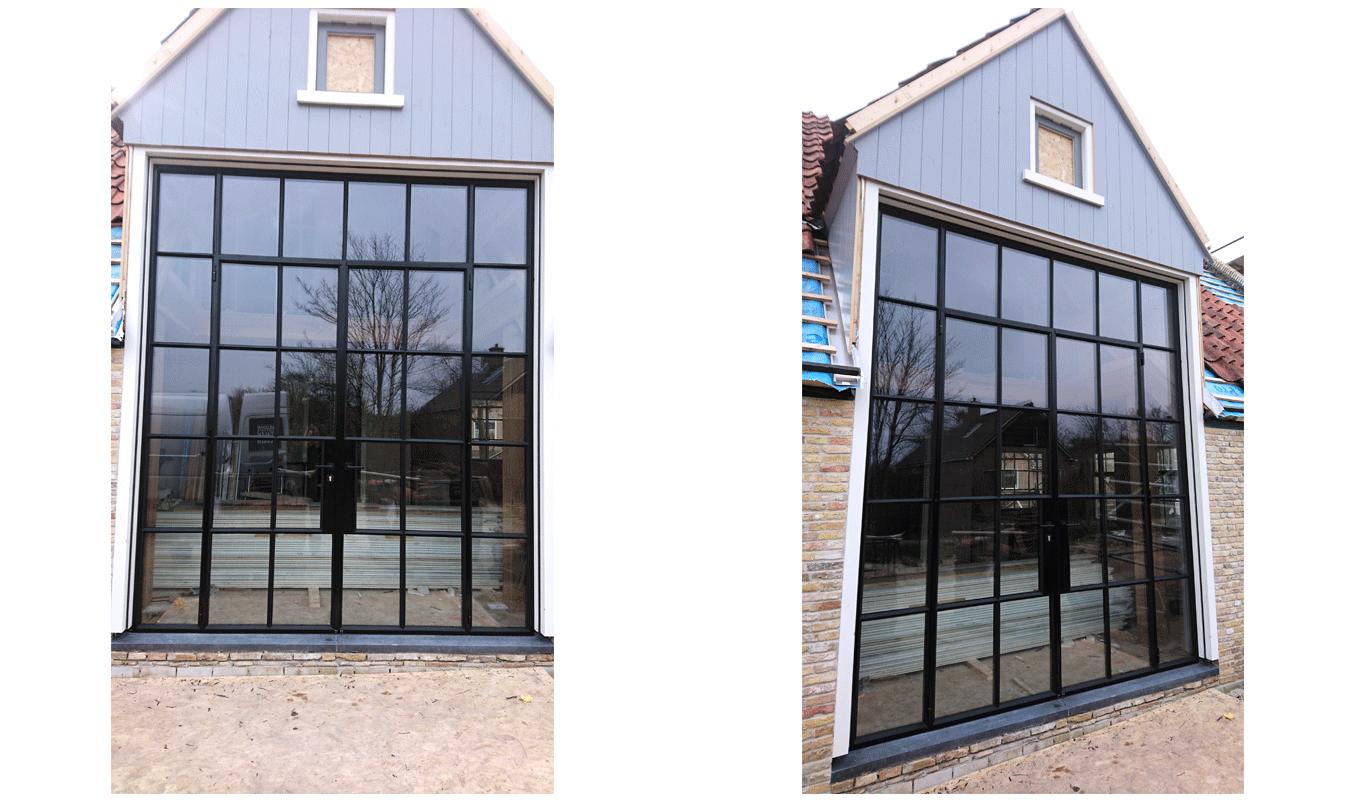Bij deze buitenpui worden de ruitjes apart in het stalen frame geplaatst.