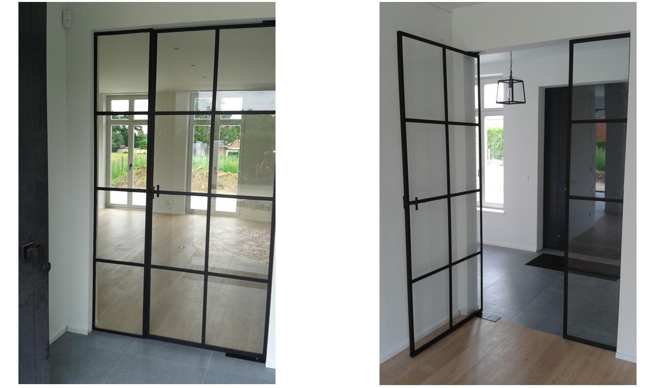 Pivotdeur in Wolvertem, stalen deuren, België, gerealiseerd door Stalen Deuren Huys