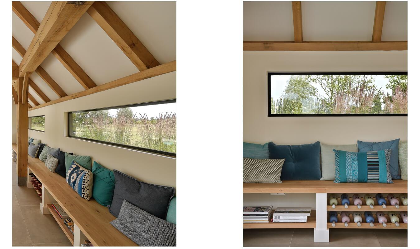 Deze poolhouse is tot in detail afgewerkt met stalen ramen.