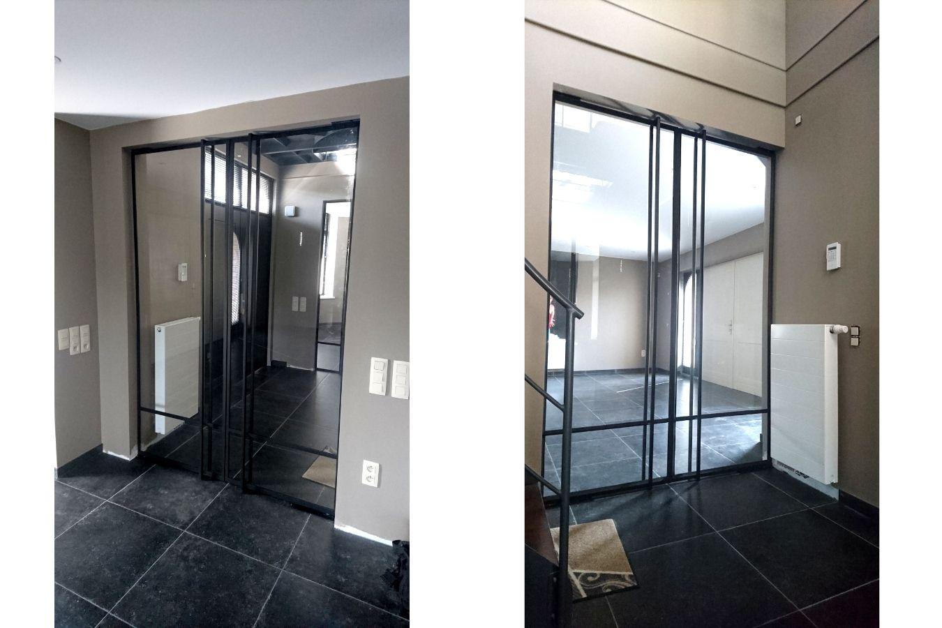 Stalen binnendeur in nieuwbouw villa - Stalen binnenpui - Stalen binnendeur - Stalen taatsdeur gerealiseerd door StalenDeurenHuys - Specialist in stalen deuren/pivot deuren