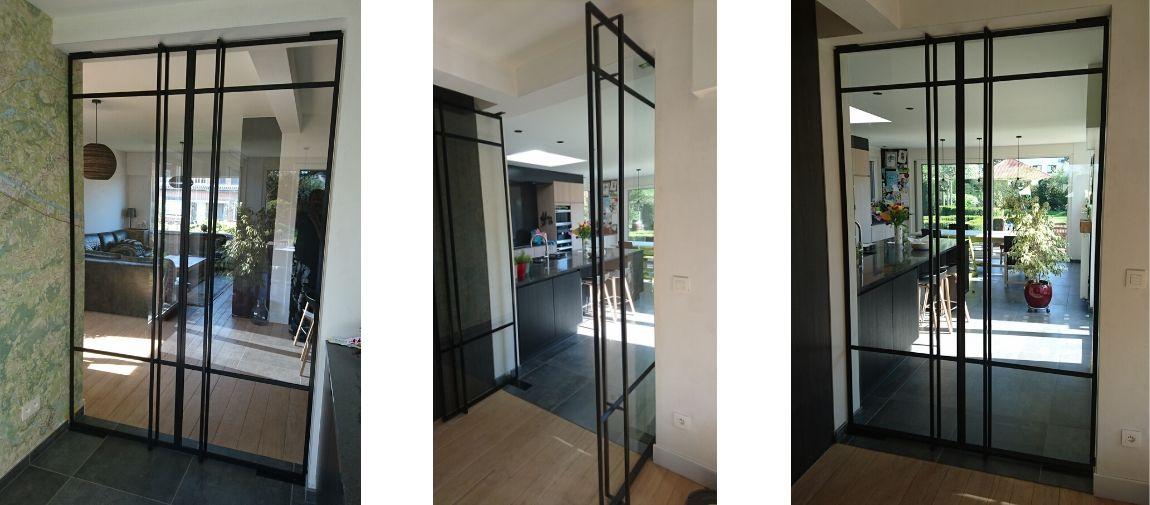 pivotdeuren in nieuwe villa, stalen taatsdeuren in Geel, Belgie - realisatie StalenDeurenHuys