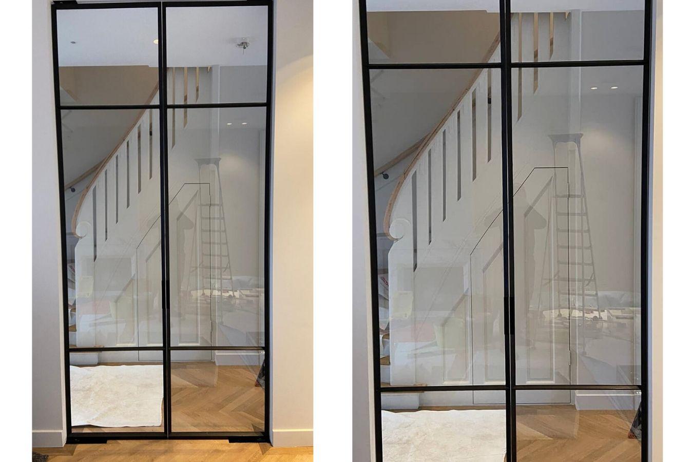 dubbele stalen pivotdeuren in Amsterdam, retrosteel, dubbele pivotdeuren, stalen taatsdeuren, StalenDeurenHuys