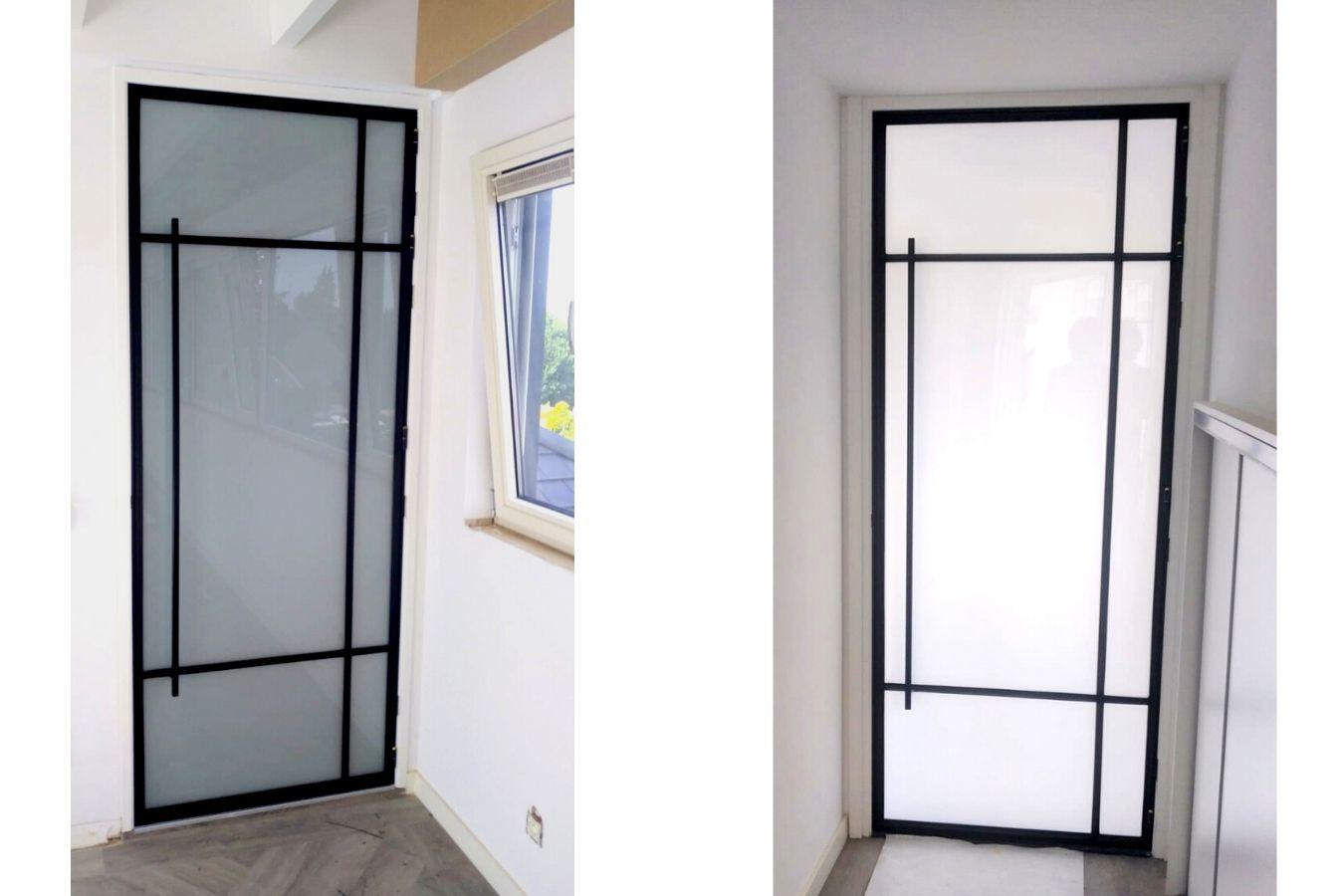 stalen melkglasdeuren project hoogstraten - pivotdeuren met melkglas - StalenDeurenHuys