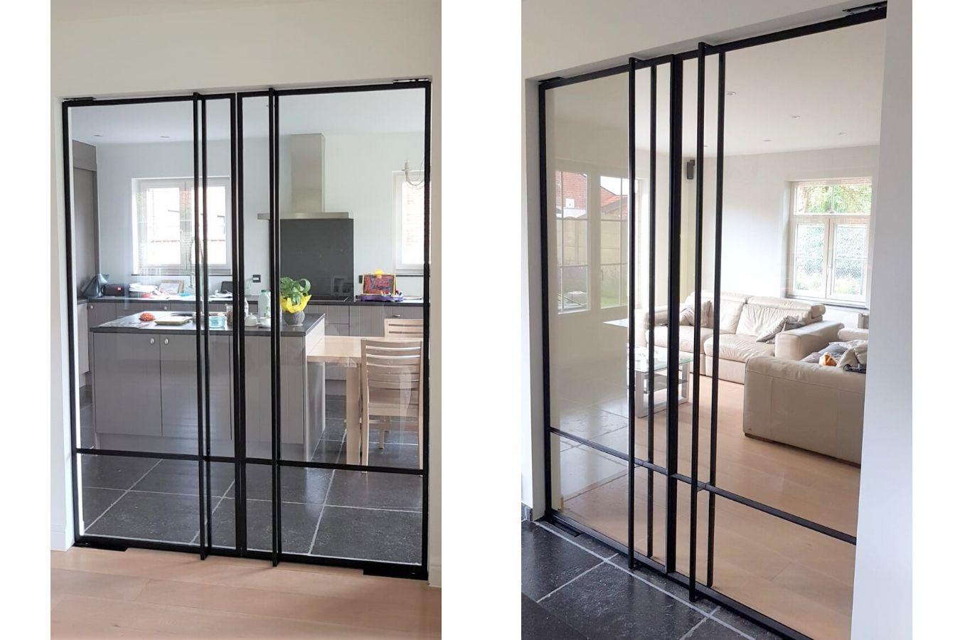 metalen deuren in Wijer - strakke pivotdeuren in keuken - pivotdeur in woonkamer