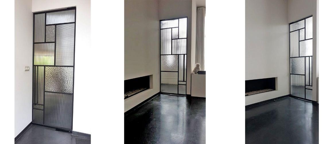 nieuw ontwerp pivotdeur in mol - stalen deur met glas