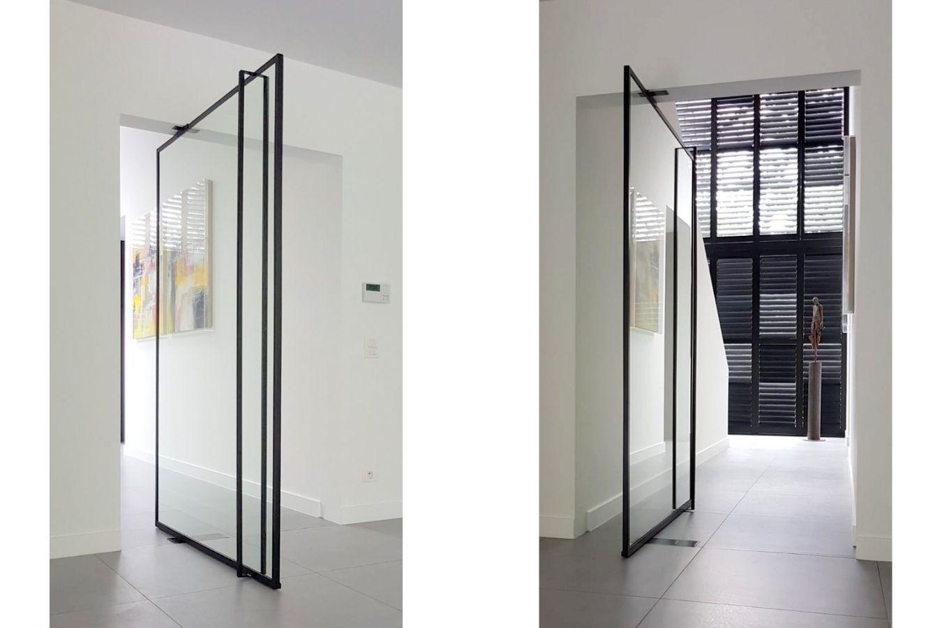 brede stalen pivotdeur, brede stalen deur, brede stalen taatsdeur, brede binnendeur van staal,