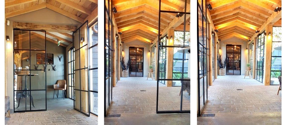 stalen taatsdeur in landelijk interieur - restaurant het ruiterhuys, dubbele taatsdeuren