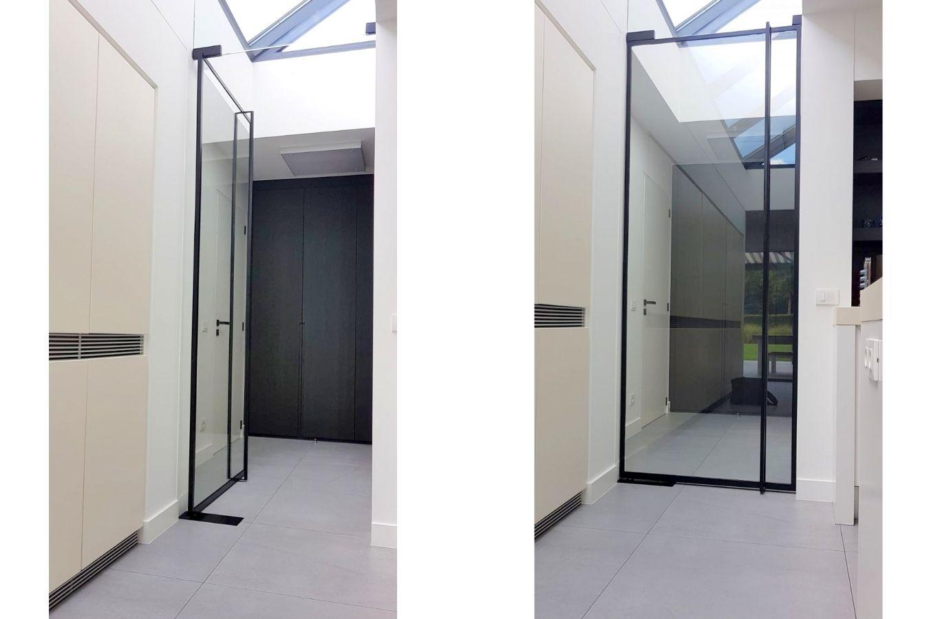 taatsdeur met deurgreep volledige lengte, ranke stalen taatsdeur in s'gravenwezel