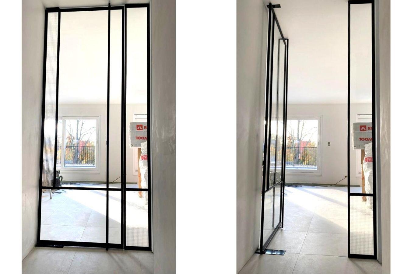 pivotdeur met glas, project Mol, StalenDeurenHuys