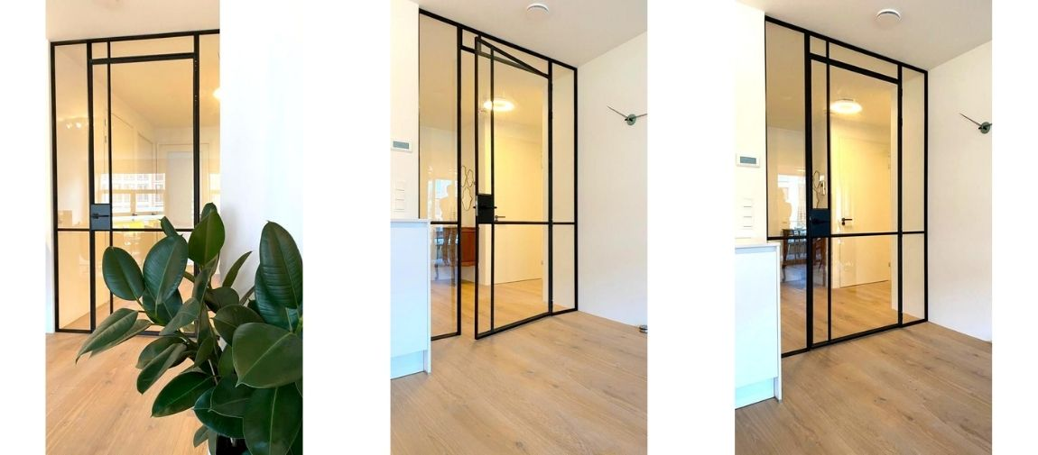 stalen scharnierdeur in nieuwbouw appartement Amsterdam - StalenDeurenHuys