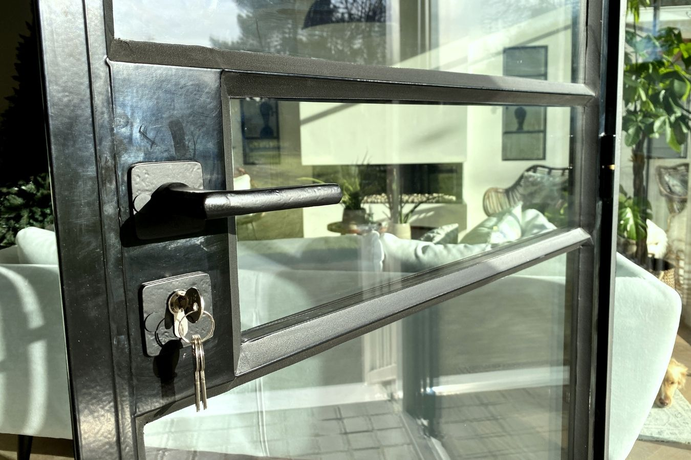 stalen vouwdeur detail stalen profielen en stopverf