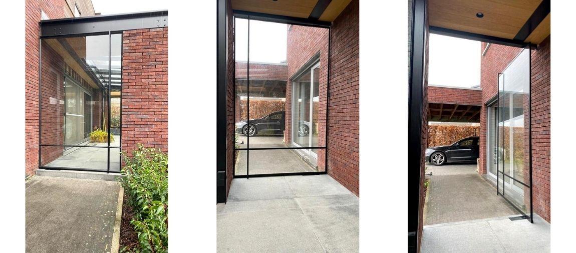taatsdeur in binnenplaats, project tessenderlo, pivotdeur op maat
